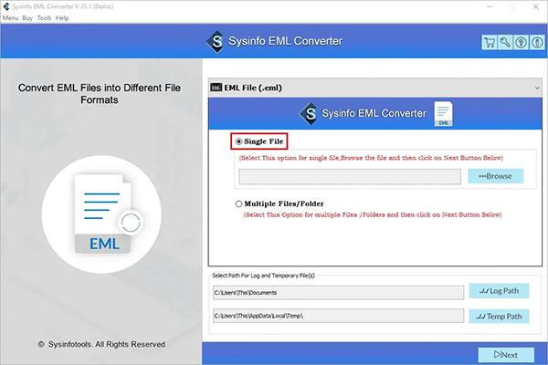 MailConverterTools EML File Converter full screenshot