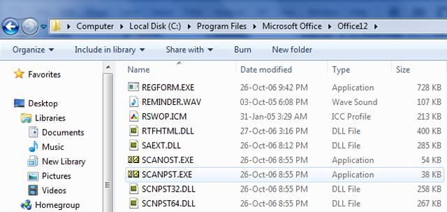 Locate Scanpst file