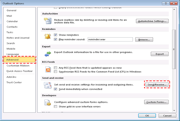 Fix MS Outlook Error Code 0x800cccdd in Outlook 2010