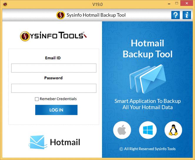 Hotmail Backup Software full screenshot