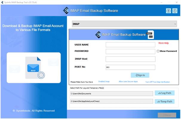 MailConverterTools IMAP Migration Tool full screenshot