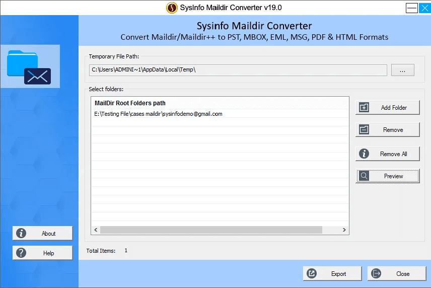 Maildir to PST Converter full screenshot